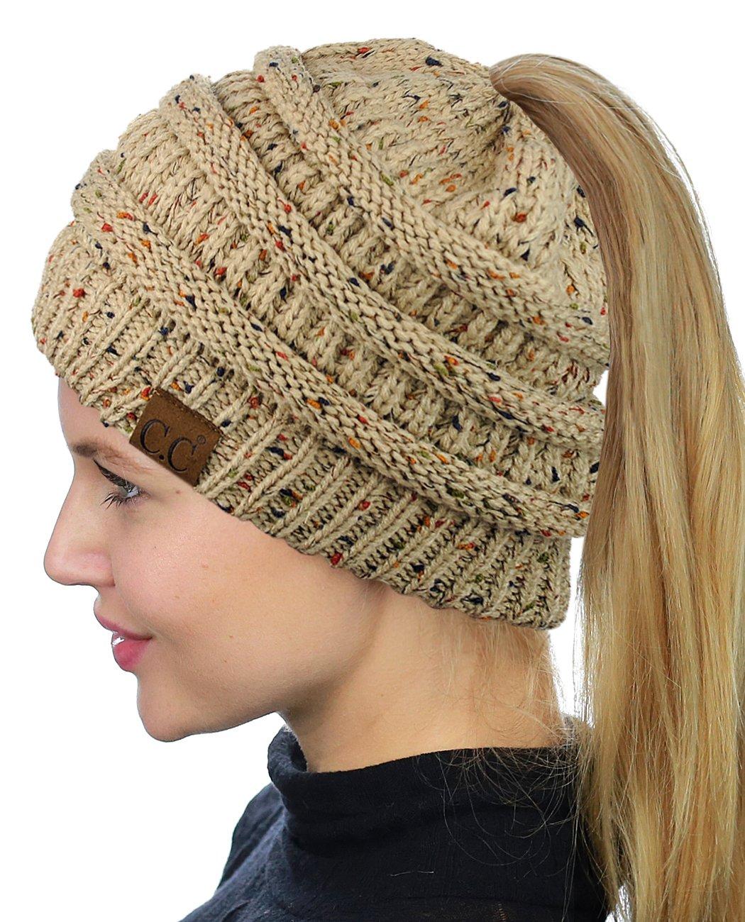 a085795fa83 Winter Hats For Women CC Ponytail Beanie Messy Bun Woolen Cap Ladies Knitted  Crochet Hat Multicolor Skullies Beanies Warm Caps