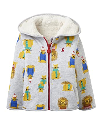 625d5a9793fa Joules Baby Boys James Grey Lions Cream Zip Up Reversible Hooded ...
