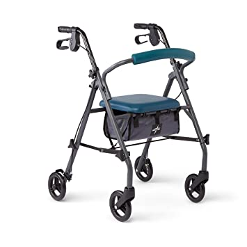 Medline Rollator Walker with Seat and Wheels, Folding Walker for Seniors with Microban Antimicrobial Protection