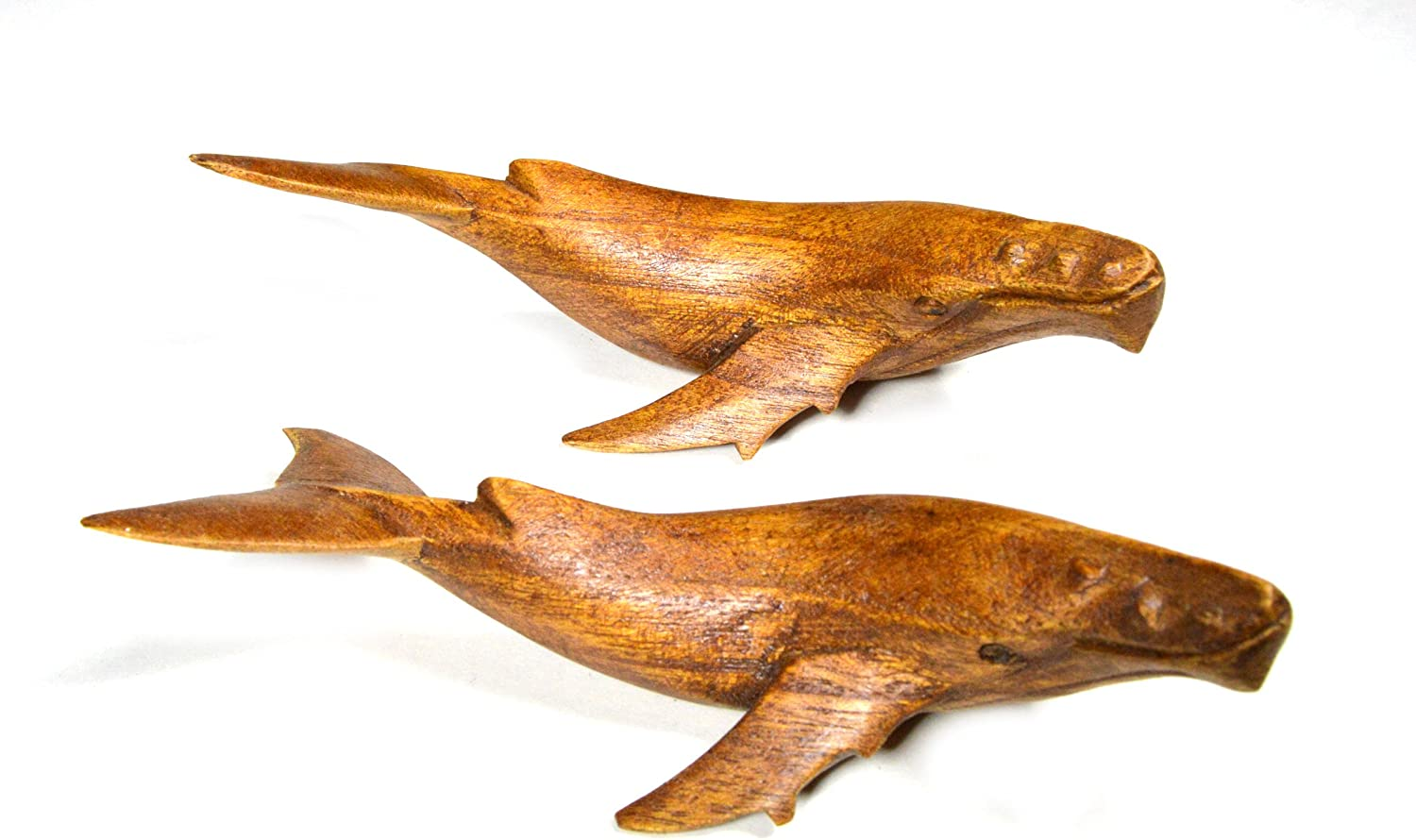 Hand Carved Mahogany Humpback Gray Whale Set Table Top Carving Sculpture Ocean Sea Nautical Decor