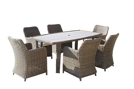 Premium Imogen 6 asiento Rectangular ratán jardín juego de ...