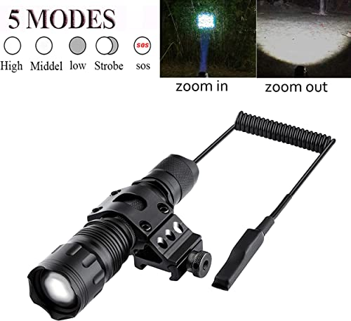 Megwoll Tactical Flashlight 1200 Lumens Zoomable Super Bright 5 Modes LED Light with Offset Picatinny Rail Mount and Rechargeable Battery Remote Pressure Switch for Outdoor Hunting Hiking