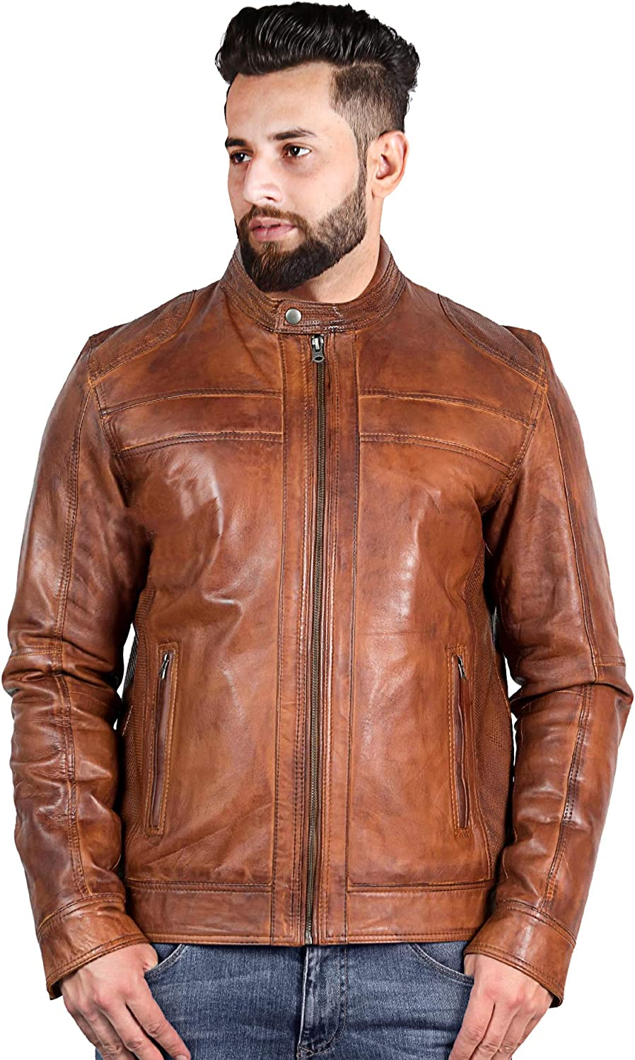 theSkinShop Men Biker Motorcycle Brown Genuine Leather Jacket