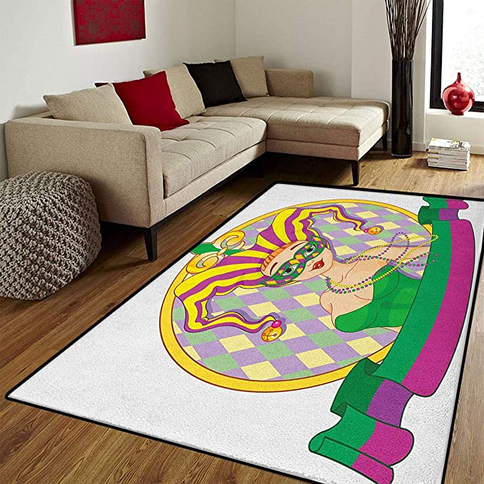Amazon.com: Mardi Gras, Floor Mat for Kids, Fleur De Lis in ...