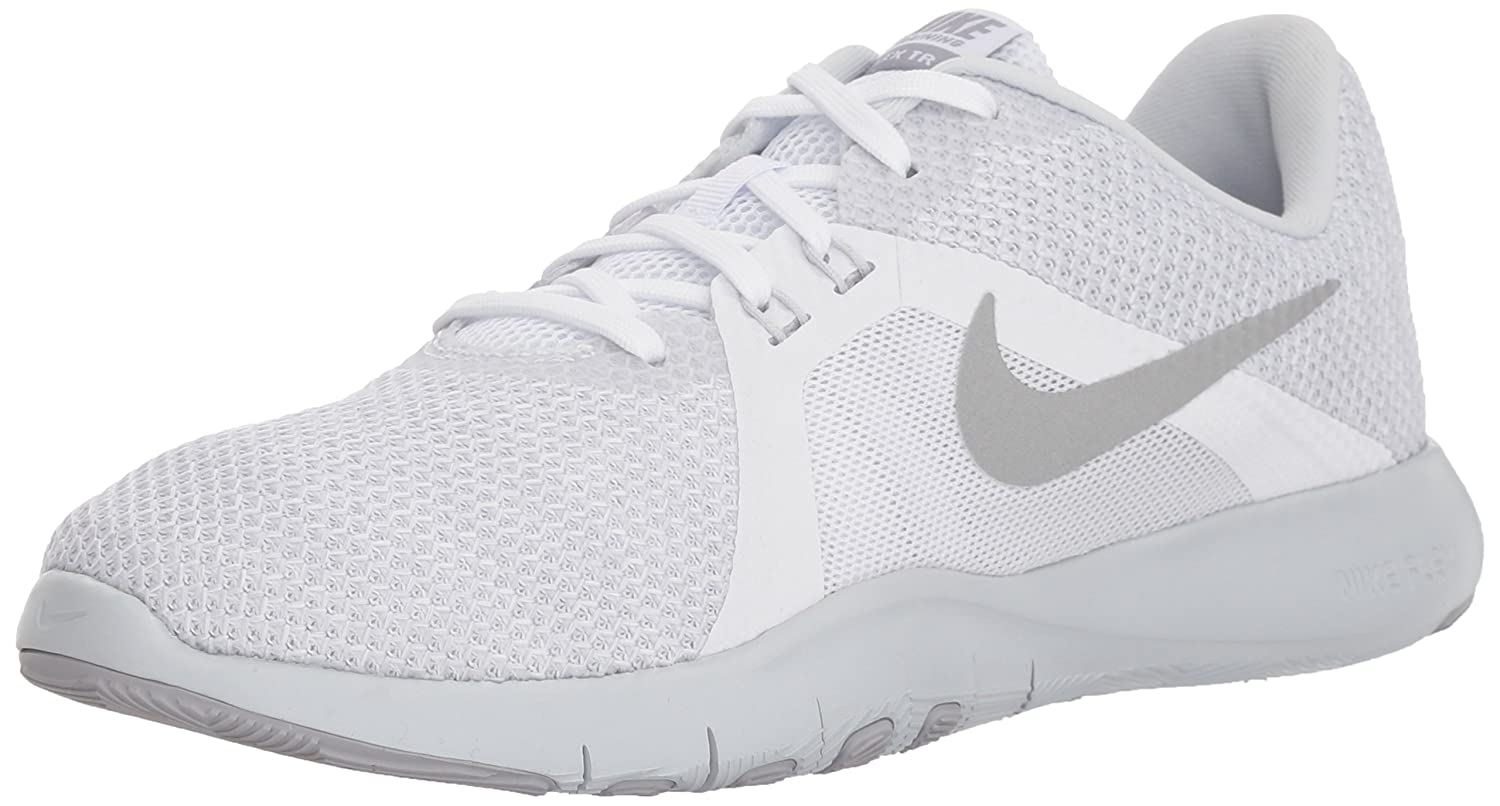NIKE Women's Flex 8 Cross Trainer B0761YSTC8 8 B(M) US|White/Metallic Silver - Pure Platinum