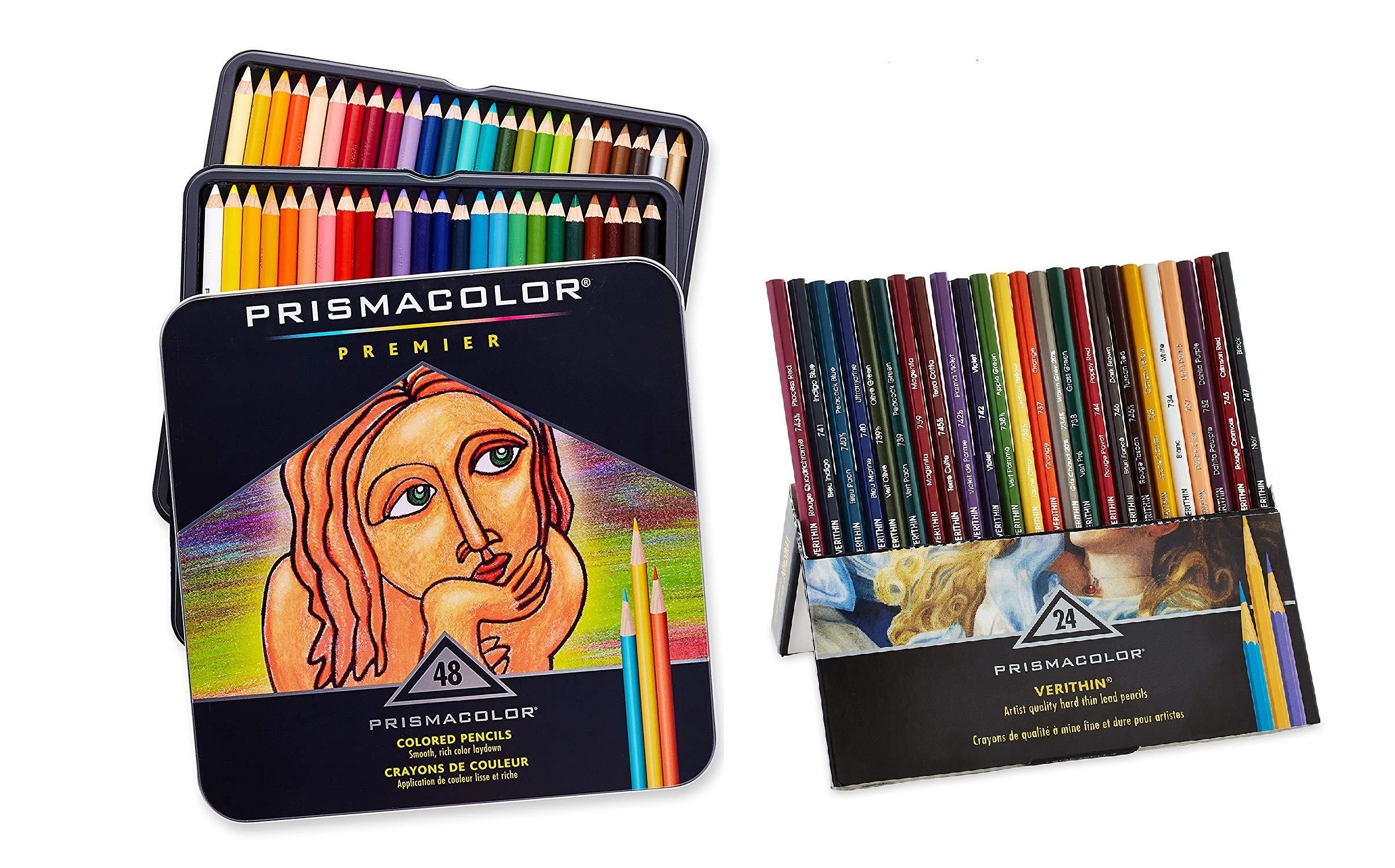 Prismacolor Premier Soft Core Colored Pencils, Set of 48 Assorted Colors (3598T) + Prismacolor Verithin Colored Pencils, Set of 24 Assorted Colors (2427) by PRISMACOLOR