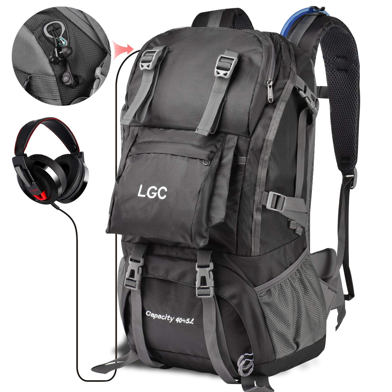 LGC Products Travel Backpack, 40L Waterproof Hiking Backpack for Men & Women, Camping Backpack with Headphone Interface & Rain Cover for Hiking, Traveling & Camping