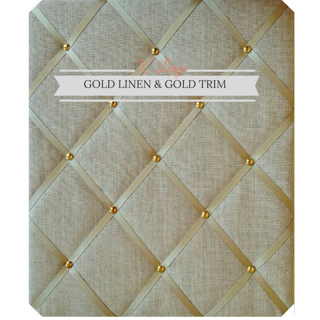 X Large Size Gold Linen Memo Board with Gold Studwork by Notice Board Store