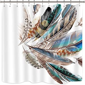 Riyidecor Animal Feather Shower Curtain Set Teal and Brown Bathroom Decor Fabric Panel 72x72 Inch Polyester Waterproof with 12 Pack Plastic Shower Hooks