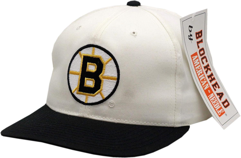 8ab60c75c53 Vintage Boston Bruins Snapback Blockhead White Black at Amazon Men s  Clothing store