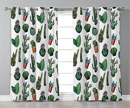 Stylish Window CurtainsCactus DecorSketchy Spiked Mexican Garden Foliage Boho Hand Drawn Line