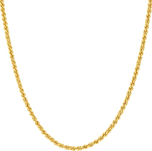 Lifetime Jewelry 1mm Rope Chain Necklace 24k Real Gold Plated For
