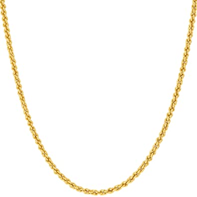 Amazon lifetime jewelry 1mm rope chain 24k gold with inlaid lifetime jewelry 1mm rope chain 24k gold with inlaid bronze premium fashion jewelry mozeypictures Choice Image