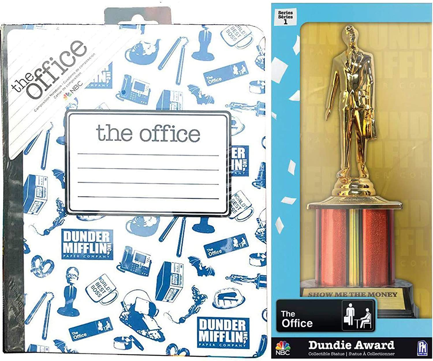 Award The Office Manager Figure Collectible Bundled with NBC Dunder-Mifflin Trophy The Dundie + NBC Series Notebook Hardcover Composition 2 Items