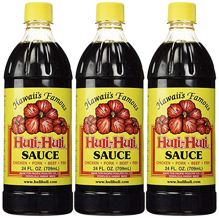 World Market Hawaii's Famous Huli-Huli Sauce - Hawaiian BBQ Sauce - Meat Rub BBQ Marinade Sauce and Steak Seasoning - Low Sodium BBQ Sauce - Gluten-Free Sauce Marinades - 24 Ounce - Pack of 3