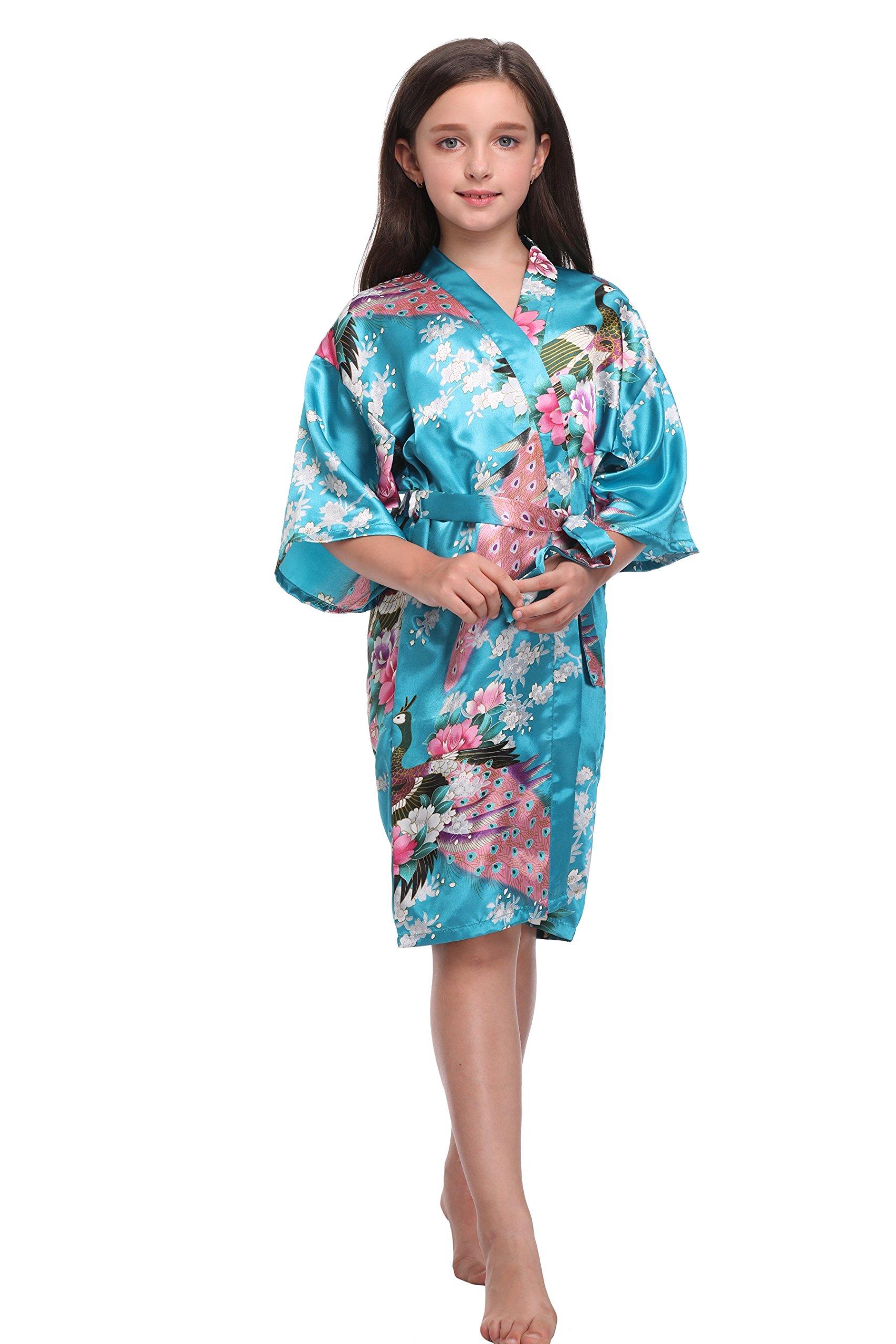 KimonoDeals Children Girls' Soft Peacock&Blossom Kimono Robe, Blue 14