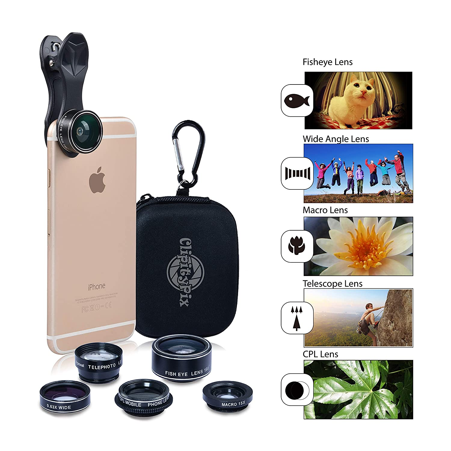 Clipitypix 5 In 1 Cell Phone Camera Lens Kit For Most And Circuit Board Digital Photography Concept Smartphones Not Dual Phones Accessories