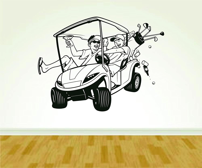 Amazon Com Golf Cart And Golfers Golfing Wall Vinyl Wall Decal
