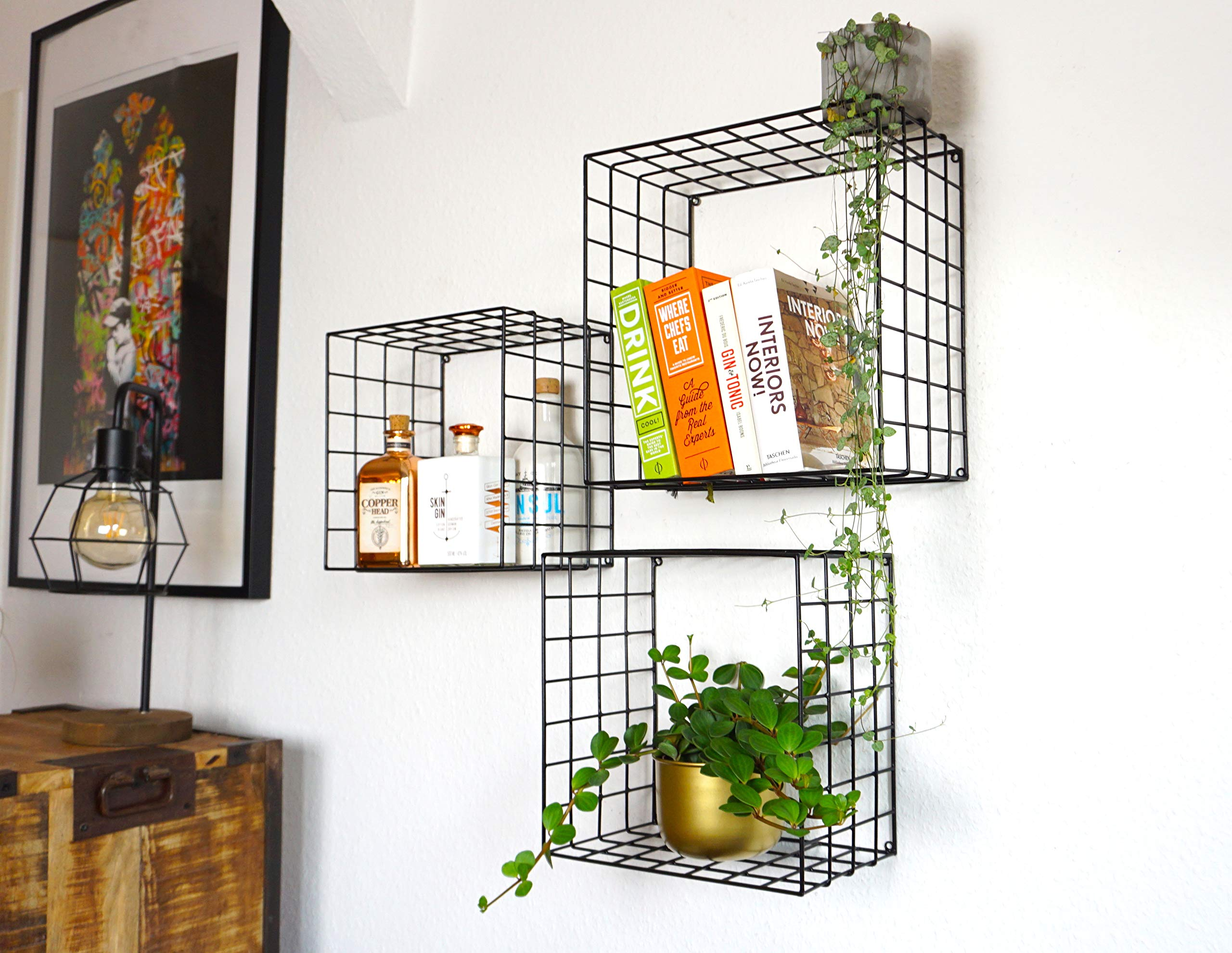 Kimisty Set of 3 Metal Floating Shelves | Decorative Wire Large Square Wall Mounted Shelf | Box Free Floating Mesh Shelves | Industrial Style Deep Black Metal Shelving | 14, 12, 11 Inch Long - FUNCTIONALITY AND STYLE: Kimisty ROOT floating shelf set is perfect way to display your plants, books, glassware and any other kind of shelf decor. Hang them linear or vertical or be playful and use them by hanging cross. No matter how you style them it will be a memorable decoration piece in your home and will collect many compliments. INDUSTRIAL TREND: Industrial interior trend is not leaving us soon. And we love how it adds modern touch to your space so easily and effortlessly. ROOT shelves are deep and large unlike other models out there. Dimensions are : Large: 14 x 14 X 7.5 inch Medium: 12.5 x 12.5 X 7.5 inch Small: 11 x 11 X 7.5 inch HIGH QUALITY MATERIALS AND CRAFTMANSHIP: Material quality means everything to us. We use heavy gauge iron with black powder coating. - wall-shelves, living-room-furniture, living-room - 81b iKCFvBL -