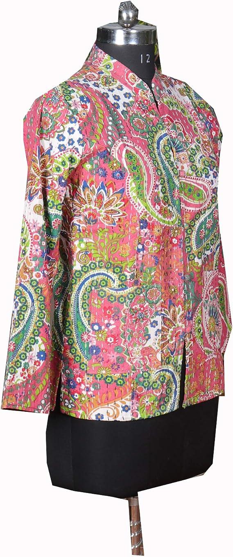 Block Print Handmade Vintage Unisex Jacket Reversible Kantha Jacket Double Sided Sleeveless Jacket Women/'s Quilted Vest Jacket with Pockets
