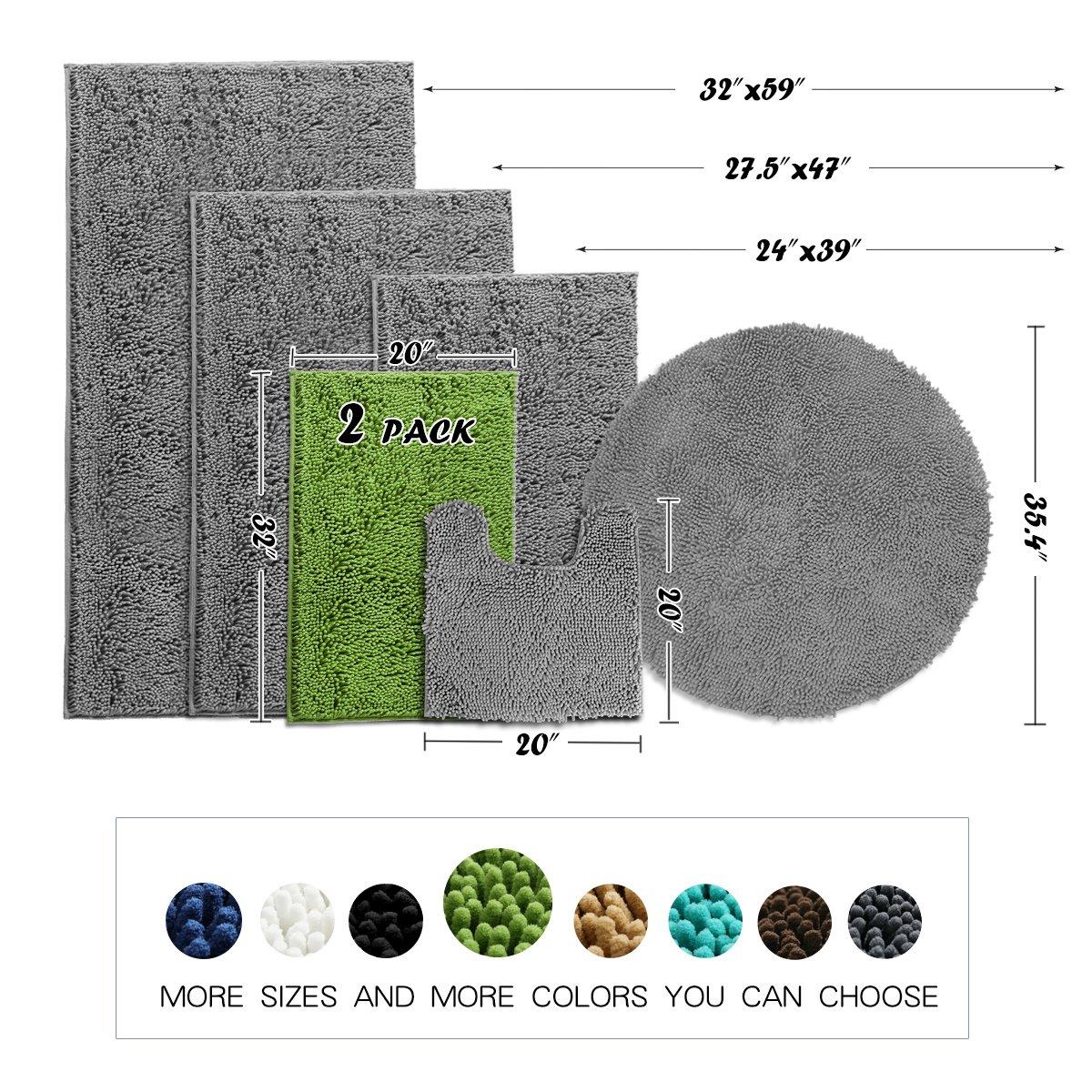 MAYSHINE Bath mats for Bathroom Rugs Non Slip Machine Washable Soft Microfiber 2 Pack 20/×32 inches, White