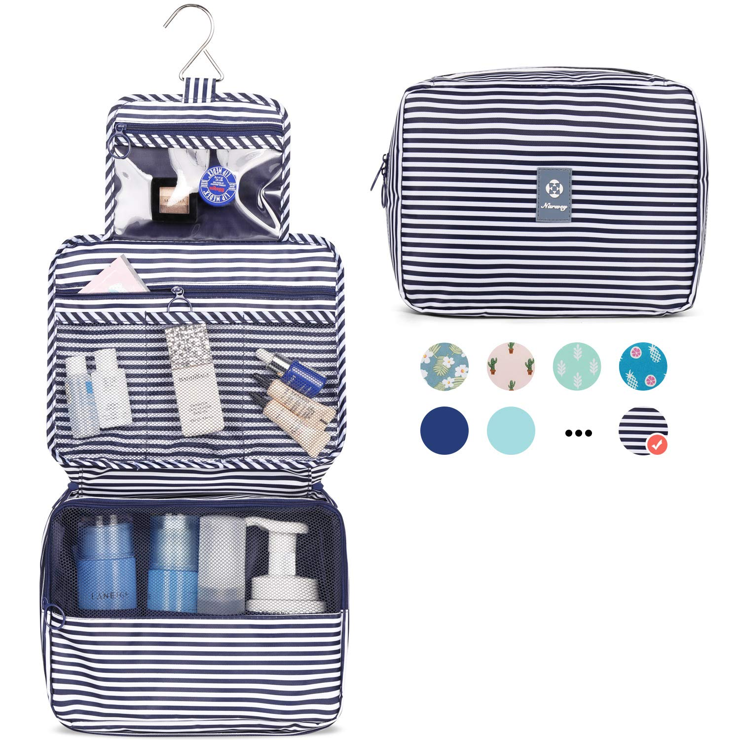 Hanging Travel Toiletry Bag Cosmetic Make up Organizer for Women and Girls Waterproof (B-Blue Stripe)