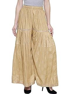 a814e8280212 DAMEN MODE Women s Rayon Gold Leaf Printed Palazzo Pants (Beige ...