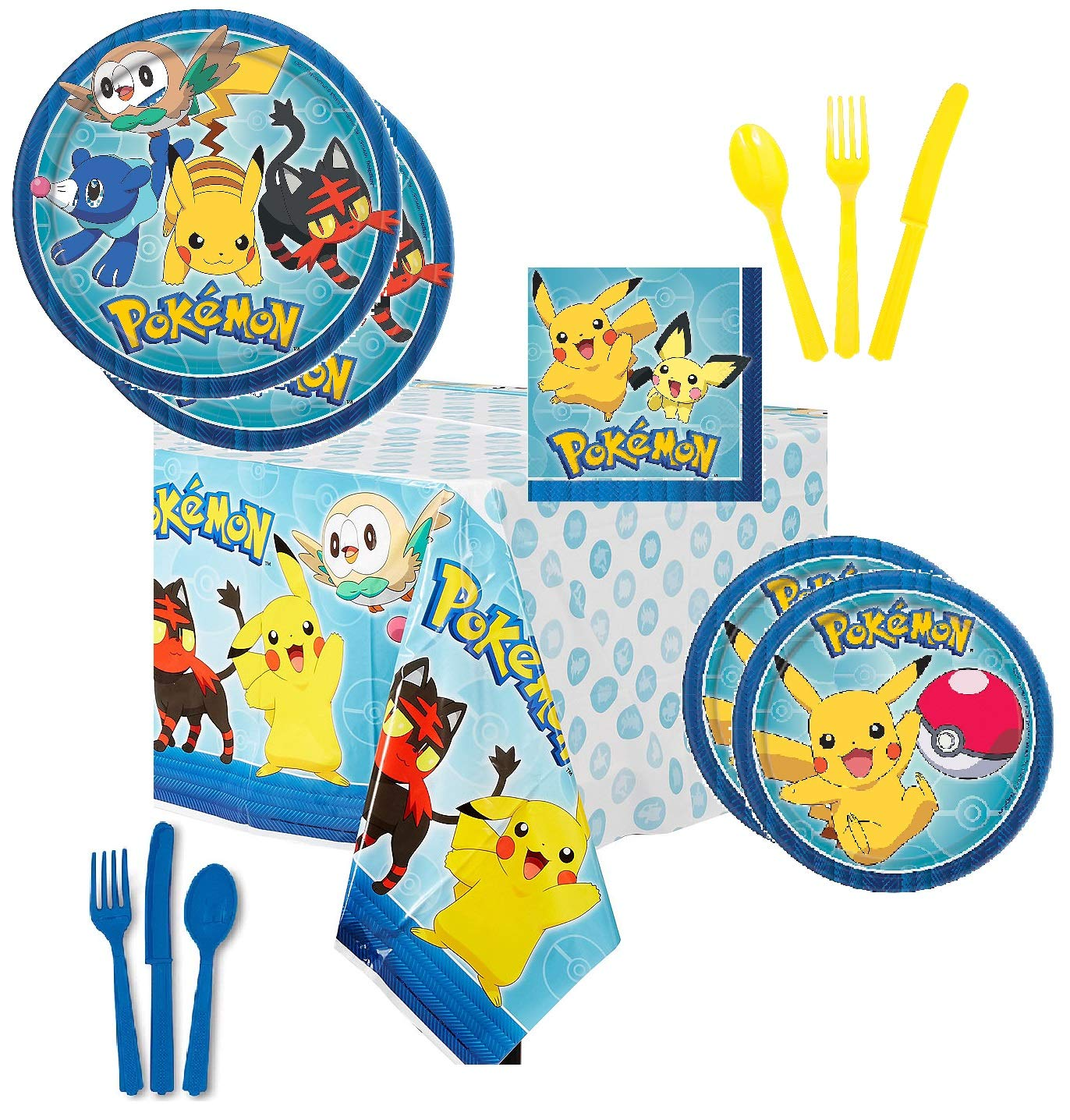 Pokémon Party Supplies Tableware Bundle Pack for 16 Guests - Includes 16 Dinner Plates, 16 Dessert Plates, 16 Dinner Napkins, 1 Tablecover, 8 each Blue and Yellow Knives Forks and Spoons