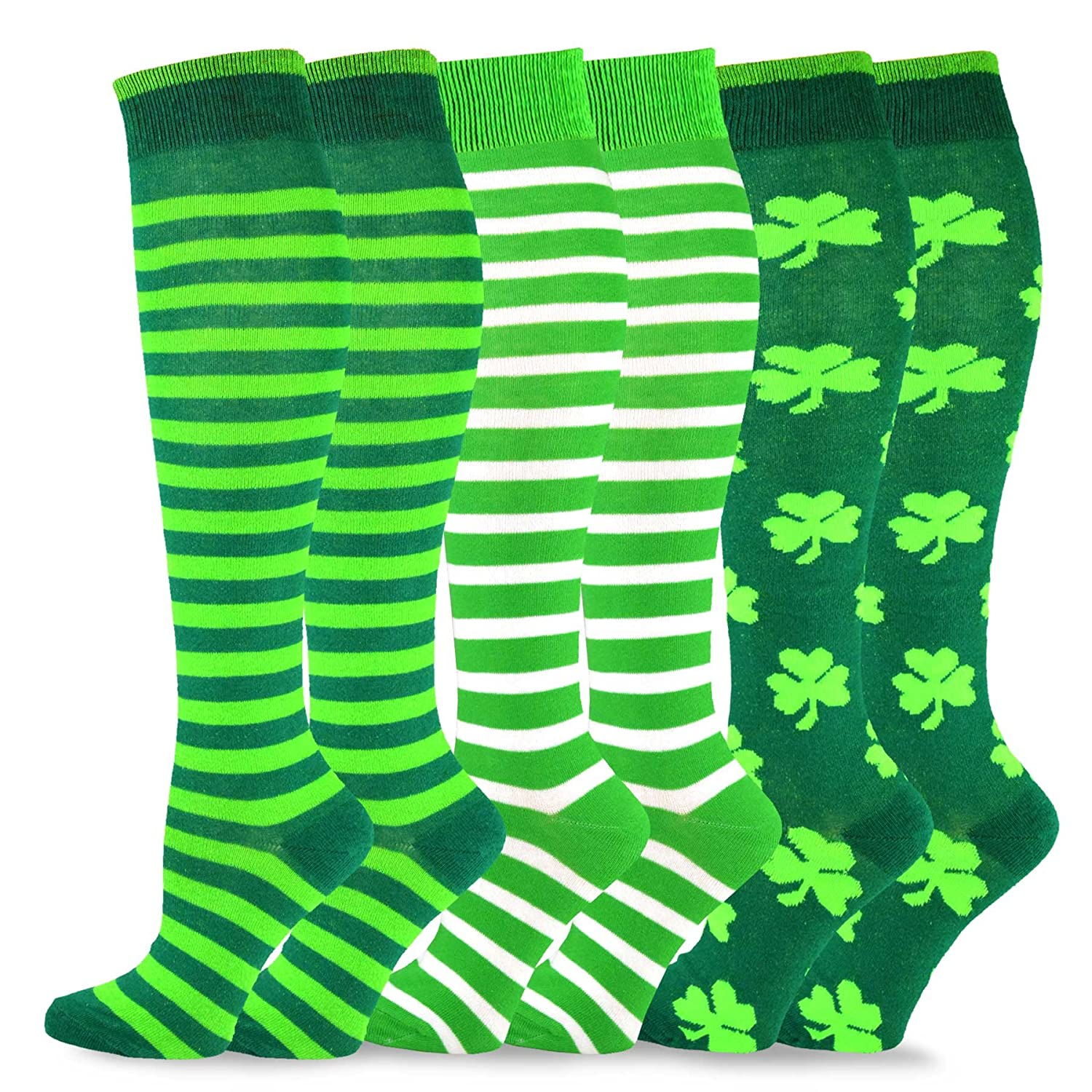 TeeHee St. Patricks Day Cotton Knee High Socks for Women 3-Pack Soxnet Inc