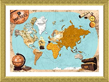 Amazon alonline art pirates old vintage world map gold framed alonline art pirates old vintage world map gold framed poster print on 100 gumiabroncs Gallery