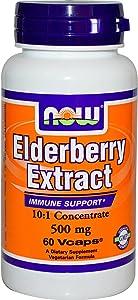 Now Foods Elderberry 500 Milligrams, 60 Veg Capsules (Pack of 2)