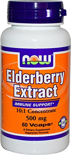 Now Foods Elderberry 500 Milligrams, 60 Veg Capsules Pack of 2