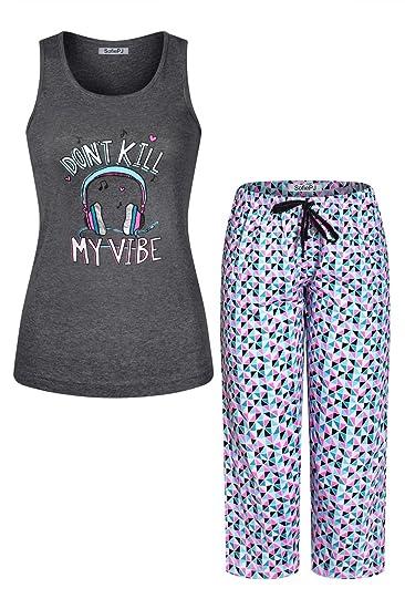 2470e22c SofiePJ Women's Embroidery Cotton Jersey Tank Top w Capri Pants Set  Charcoal M at Amazon Women's Clothing store:
