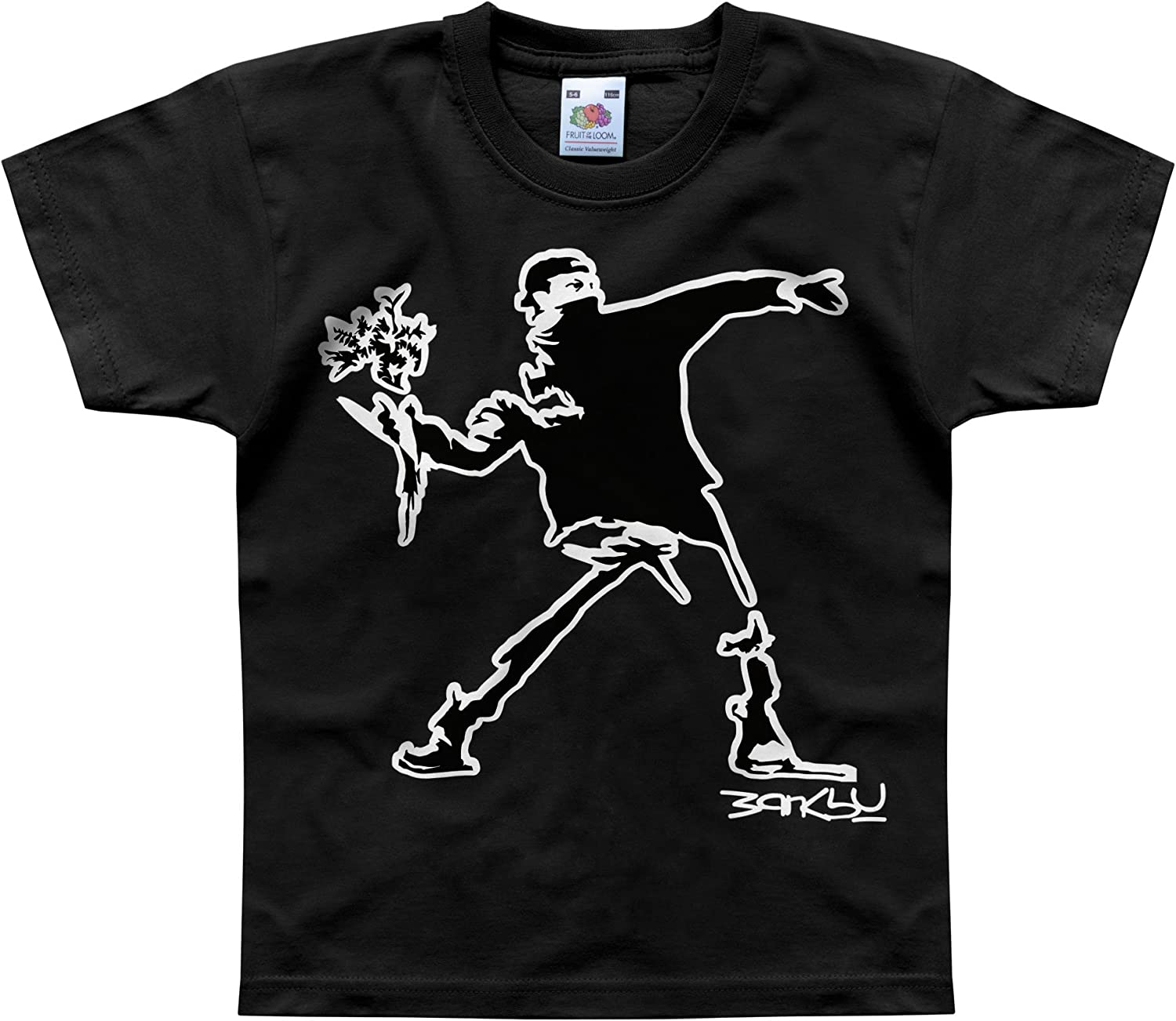 Nutees Banksy Flower Thrower Street Art Unisex Kids T Shirts Ages 1-14 Years