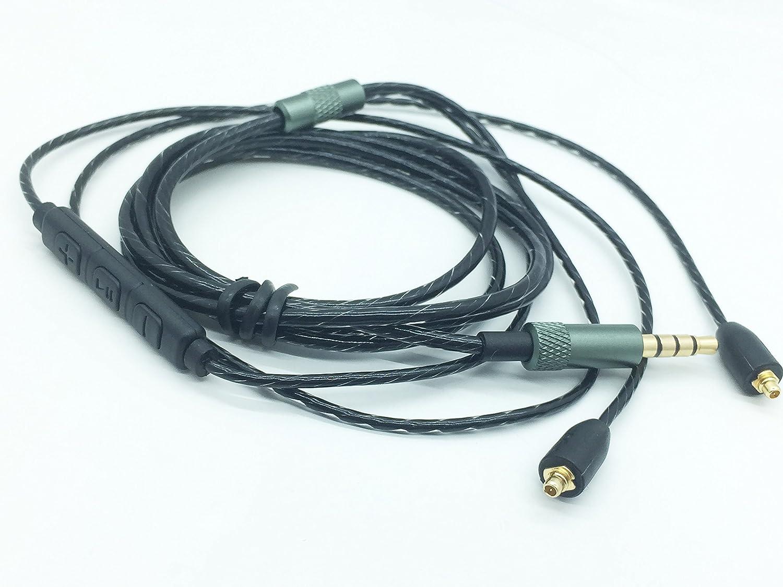 交換用アップグレードオーディオケーブルワイヤコード拡張子Detachable MMCX for Shure se215 se315 se425 se535 se846 ue900 SE 215 SE 315 SE 425 SE 535 SE 846 UE 900イヤホン black upgrade with microphone se525   B07BNF9FC5
