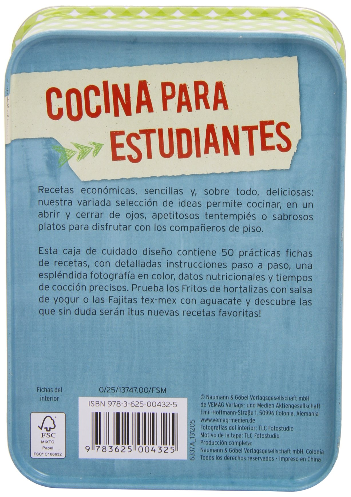 COCINA PARA ESTUDIANTES.(CAJAS DE RECETAS): NGV: 9783625004325: Amazon.com: Books