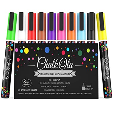 Fine Tip Chalk Markers - Pack of 10 neon Color pens - Non Toxic Wet Erase Chalkboard Window Glass Pen - 3mm Reversible Bullet & Chisel Nib