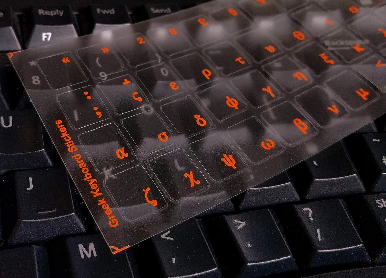 Etiquetas engomadas griegas del Teclado para Mac, computadora de Escritorio, computadora portátil, Macbook (calcomanías de Teclado con Letras Rojas)