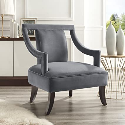Amozon Accent Chairs.Felicity Grey Velvet Accent Chair Cut Out Shaped Back Elegant Arm Design Upholstered Inspired Home