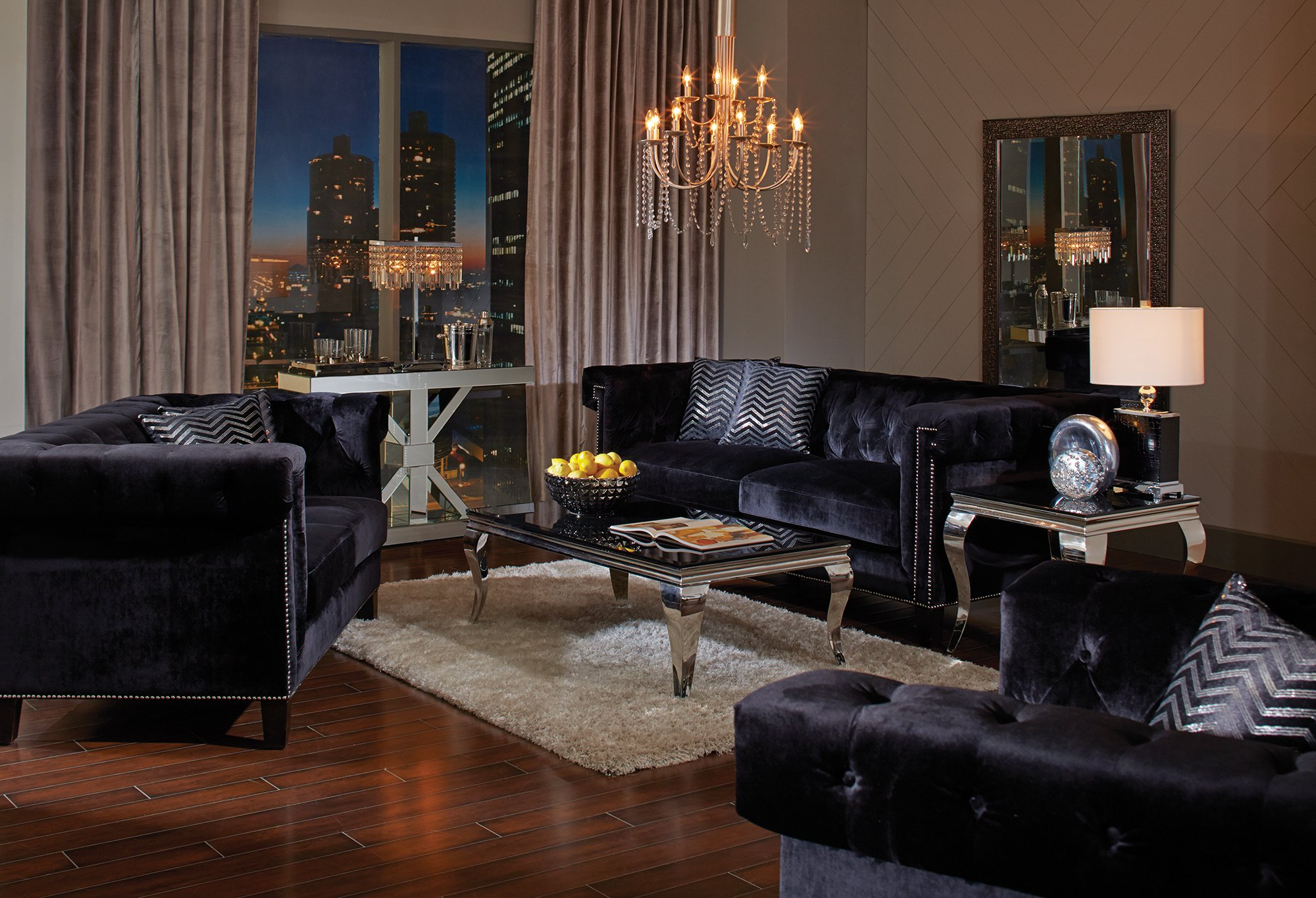 Coaster Reventlow 505818 67'' Loveseat with Accent Pillows Greek Key Nailhead Trim Design Reversible Pocket Coil Seating and Velvet Upholstery in Black by Coaster Home Furnishings
