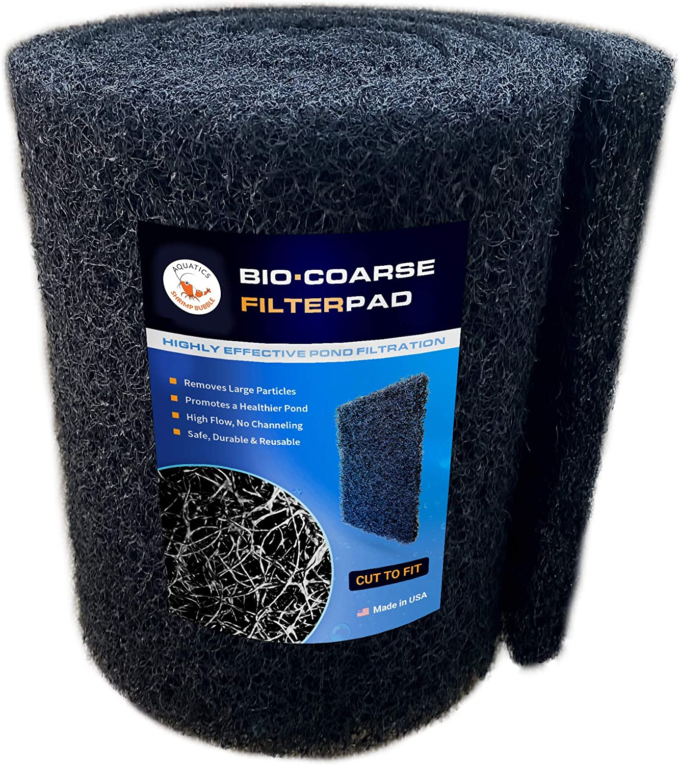 SHRIMP BUBBLE Koi Pond Filter Media Pad COARSE Black Bulk Roll Water Garden Rigid Latex Coated Durable Reusable PreFilter Mat –12 inches by 72 inches by 1 inch Thick - Made in USA