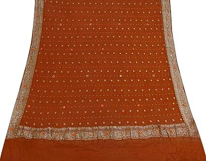 Vintage Dupatta Long Stole Georgette Orange tejido indio usado abrigo Velo Hijab