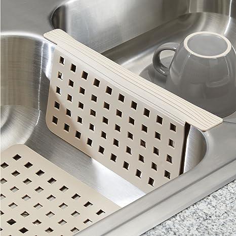 mDesign Juego de 2 accesorios para cocina – Incluye un protector de fregadero y una rejilla