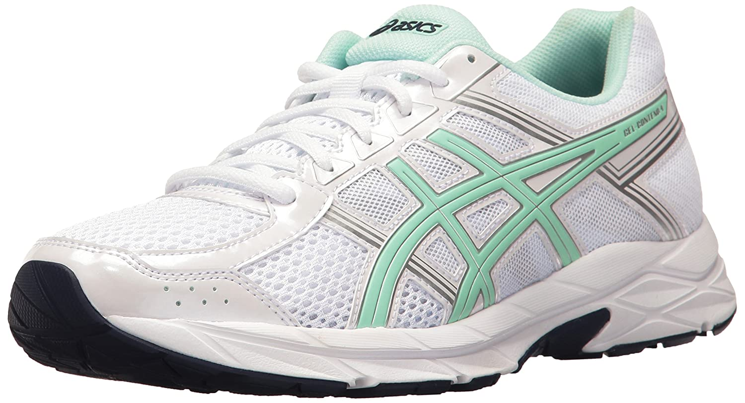 ASICS Womens Gel-Contend 4 Low Top Lace Up Running Sneaker B01GVQVHXA 8.5 B(M) US|White/Bay/Silver White/Bay/Silver 8.5 B(M) US