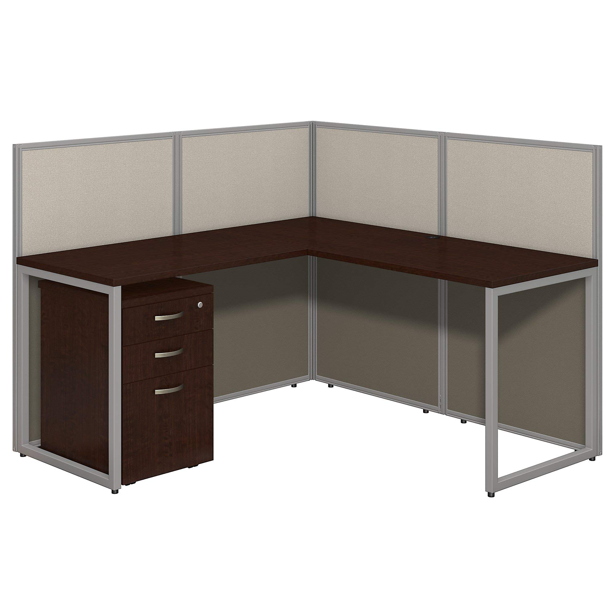 Bush Business Furniture Easy Office 60W L Shaped Desk Open Office with Mobile File Cabinet in Mocha Cherry by Bush Business Furniture