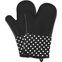 Vilapur gants de cuisson Mitaines de four 300 °C Gant Barbecue, Gants de cuisine anti chaleur resistant en silicone pour barbecue, cuisine, grillade, 100% Coton Doublure, Noir, 1 paire