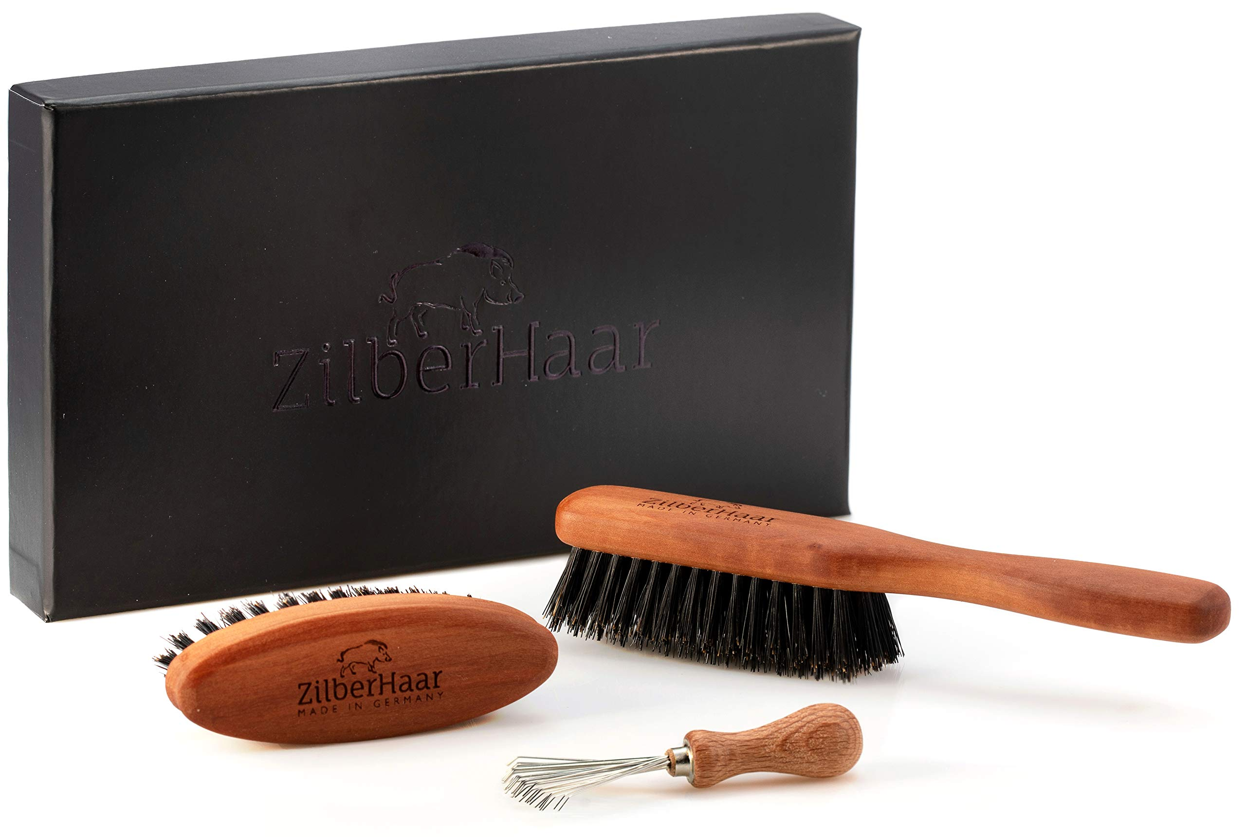 Zilberhaar Basic Beard Brush Kit (Stiff Version) - Ideal for Medium to Long, Thick Beards - Distributes Balm & Oil for Growth and Styling - Perfect Gift Set - Comes with Brush Cleaning Tool by ZilberHaar