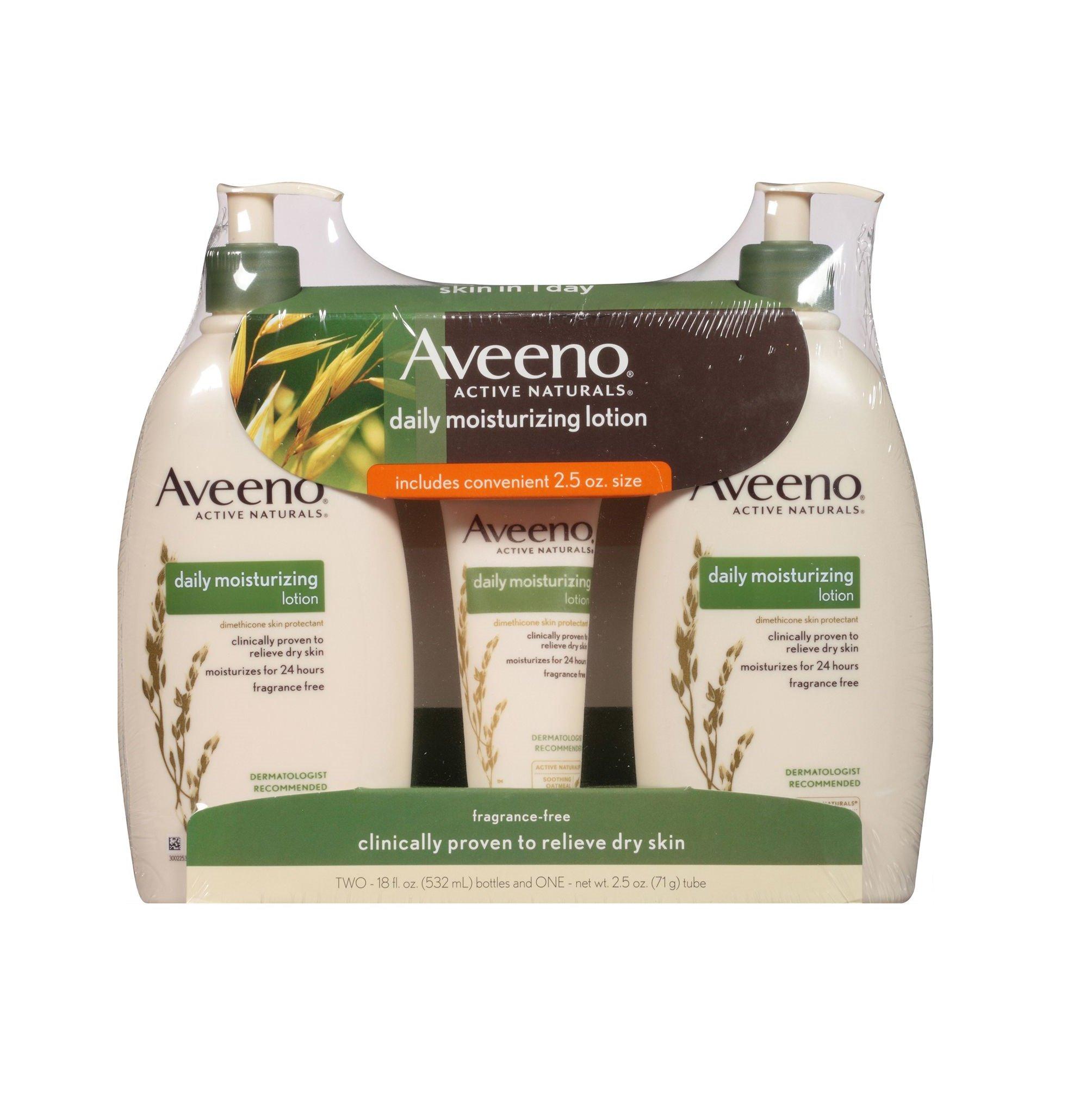 Aveeno Daily Moisturizing Lotion (18 fl. oz., 2 pk. with 2.5 oz. Tube) by Aveeno