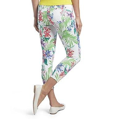 bb3b175a6977b3 HUE Women's Tropical Orchid Essential Denim Capri Leggings at Amazon Women's  Jeans store