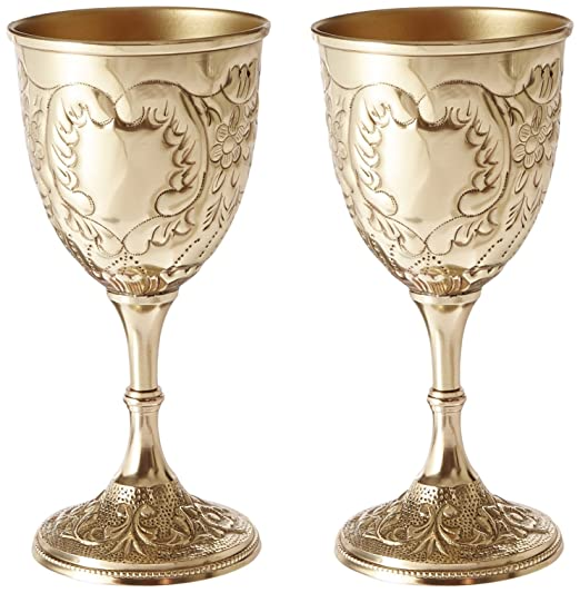 Christmas Tablescape Decor - The King's Royal Chalice embossed pair of brass goblets by Design Toscano